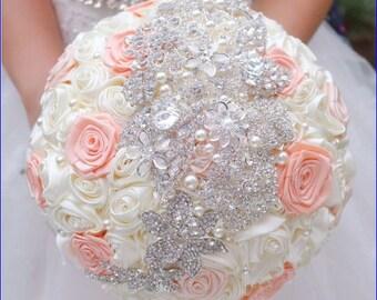 Crystal brooch rosette wedding bouquet