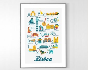LISBOA Alphabet Poster from A to Z, BIG POSTER 13x19 inches