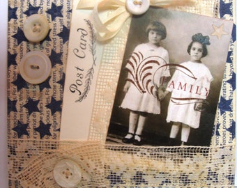 Family/ Sisters Independence Day ~~~~ Greeting Card ~~~ Old Fashion 4th July
