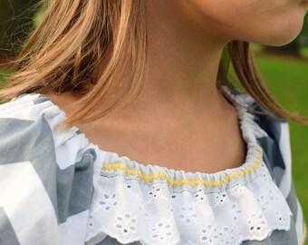 Grey Chevron Dress Washed Cotton | Grey and Mustard Chevron Dress | Photo Shoot Dress | Grey Flower Girl Dress | Ellie Ann and Lucy