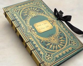 Custom Wedding Guestbook with Ribbon, Personalized Guestbook, Polaroid Scrapbook Upgrade, Honeymoon Journal, Elegant Guestbook, Medium