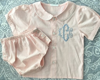 Girl Pink Poplin Diaper Set