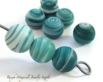 Swirly Swirl Beads 12mm Teal Turquoise Aqua Aquamarine Blue Green White Frosted Sea Glass Lampwork Beads Two Tone Multicolor Beads - 9 Pc