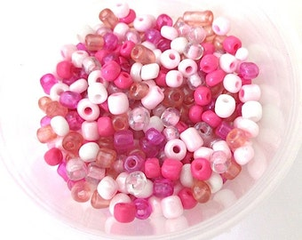 Colorful Seed Beads. Size 8/0 - 6/0 Beads. Assorted Pink Colors - Hot Pink, Fuchsia, Peach, White. 1 Ounce Small Glass Beads for DIY Jewelry