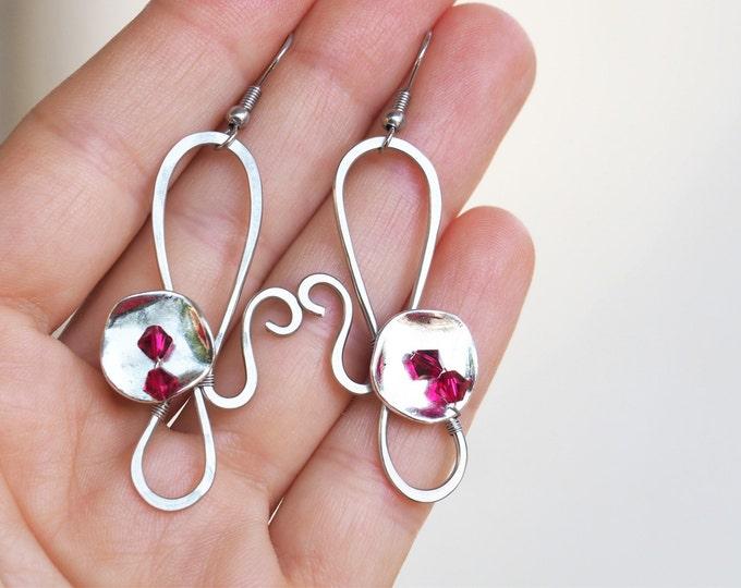 Burgundy wire earrings
