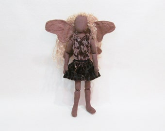 Faerie doll with fabric and wire wings, jointed cloth doll, one of a kind doll, brown faerie doll, wood faerie, fiber art decor