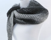 Hand knit scarf/shawl in shades of gray