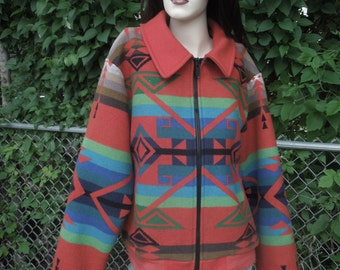 Pendleton Blanket Coat Colorful Southwest Indian Design Wool Coat Red Size Small