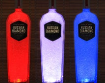 Russian Diamond Vodka 1 liter Color Changing Remote Controlled Bottle Lamp Bar Light LED Bodacious Bottles man cave lighting