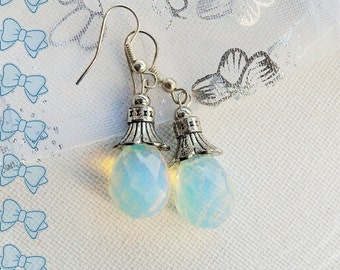 Earrings - Cluster Earrings - Faceted Moonstone Earrings - Teardrop Earrings - Handmade Jewellery
