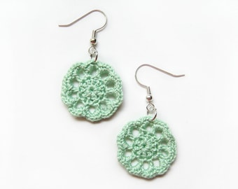 Mint Lace Earrings, Round Scallop Dangle - Nile Green Seafoam Egyptian Cotton - Jewelry Pastel Cottage Wedding Spring