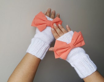 Orange Bow Fingerless Gloves, Gloves & Mittens, Gift Ideas, For Her, Winter Accessories, Winter Fashion, Accessories, Fall, Autumn