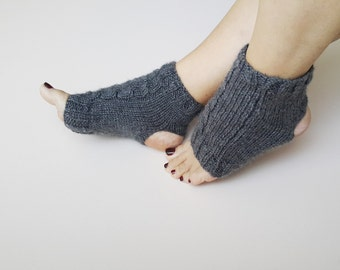 GRAY  Yoga Socks // Pedicure Socks // Toeless Socks // Toeless Yoga Socks // Knit Yoga Sock // Ankle Warmer,pilates,flip flops,sandals,