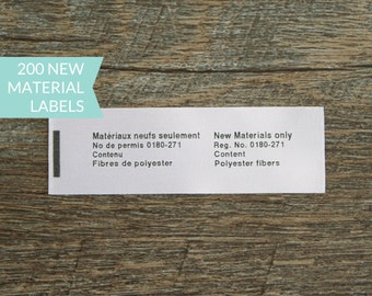 Qty 200 - Satin new material label - Satin Law label - toy label - Small article label - USA form 3 label