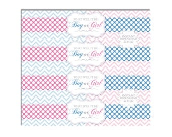 Gender Reveal Water Bottle Wrappers/Baby Shower Water Bottle Labels-INSTANT DOWNLOAD