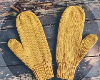 Hand knit mustard yellow mittens