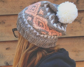 The Nazca Hat - taupe, white & strawberry fair-isle knit hat with pom-pom