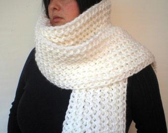 White Ivy Scarf Soft mixed  Wool Big  Neckwarmer Women/Men Fashion  Chunky  Knit  Scarf NEW