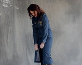 15% OFF VALENTINE SALE Women's Dark Blue Coat Denim Maxi Dress long sleeves and front embroidery in gold