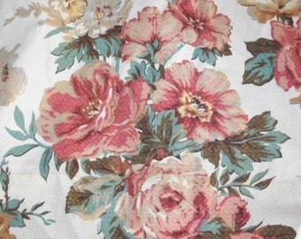 Vintage Barkcloth Roses ~ Tea stained ~ As is // Cottage Supplies ~ Drapery Panel ~ Long Size