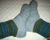 Big size mens BOOT SOCKS granite gray with petrol blue green brown Hand knitted Warm Durable Cozy wool Gift idea Handmade in  FINLAND