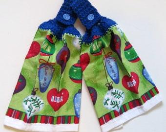 Joy/Peace/Love Crochet Top Kitchen Hand Towel Set of 2