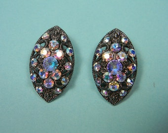Aurora Borealis Rhinestone Clip On Earrings, Silver Tone Ornate Cutouts