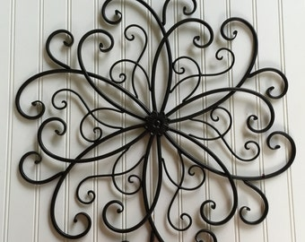 Metal Wall Art -Black Metal Wall Hanging - Large Metal Wall Decor -Outdoor Metal Wall Art - Black Wall Decor - Iron Wall Art