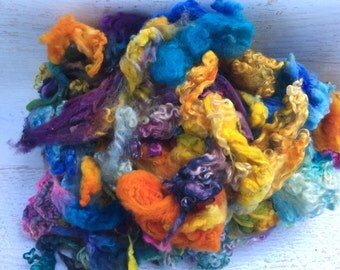 Handdyed sheep locks for spinning and felting gotland romney teeswater BL/BFL CVM cormo