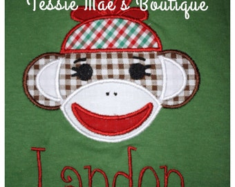 Sock Monkey Applique, Personalized Shirt, Christmas Shirt