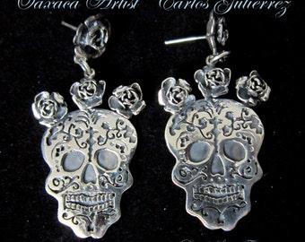 FRIDA with Flower Headdress~Med.Size~Cut Out/Overlaid~Sugar Skull~925~Hand Made Earrings~Carlos Gutierrez