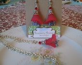 Calla Lily Earrings & Necklace Set, Red Pale Blue and Silver, Flower, Nature Inspired Jewelry, Woodland, Whimsical, Swarovski Cut Beads