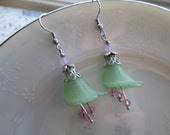 Calla Lily Earrings, Frosted Spring Green & Pink, Silver, Flower, Nature Inspired Jewelry, Woodland, Whimsical, Swarovski Cut Beads