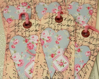 LARGE TAGS 3 - Vintage Script Wallpaper Print Heart - Pink Mauve Blue Dusty Rose