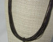 Piano Wire Necklace Slate with silver pearl