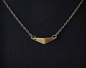 Arched Triangle Necklace || Gold || Brass Pendant || Brass Chain || Delicate || Arrow Necklace || Layering Necklace || Metalwork Jewelry