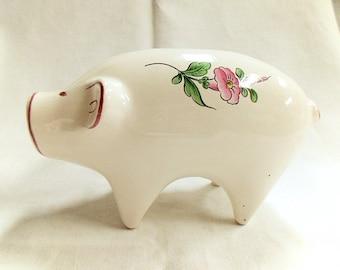 Keller & Guerin Luneville Strasbourg Pattern Vintage French Floral Ceramic Piggy Bank (C062)