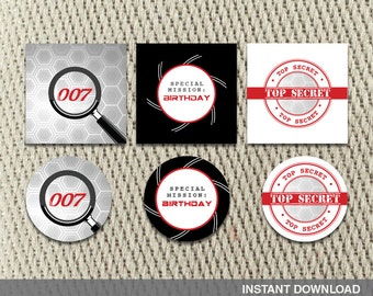Favor Tags - Stickers - Secret Agent Spy - Mission Impossible - Birthday - Instant Download - DIY Digital Decorations