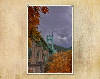 Bridge Photograph | Autumn Colors | Portland Oregon | St. Johns Bridge | Rainy Day | Stormy | Fall Leaves | Cathedral Park