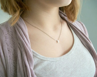 Initial Necklace Sterling Silver Monigram Initial Necklace Tiny Womans Delicate Whisper Necklace Simple Style Light