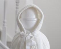 Baby Cape, Newborn Baby Cape, Vintage Baby Cape, Hooded Baby Cape, Knit Baby Cape, Baby Shower Gift
