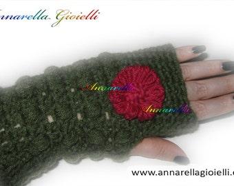 Guanti mezze dita, gloves, green, verde, inverno, winter, fiore, flower, modern style, handmade,