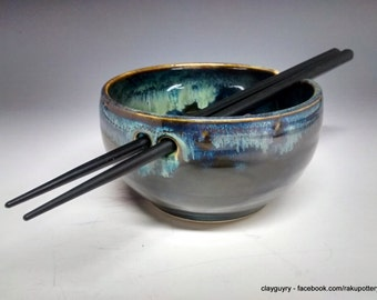 Ceramic Rice Bowl - Handmade Pottery - Blue Stoneware - Northern Lights