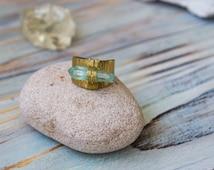 Aura quartz ring,OOAK jewelry, aqua aura quartz, brass boho ring, raw quartz ring, bridal jewelry, gift for her, yoga crystals