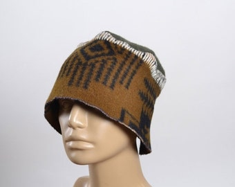 End Of Summer SALE Upcycled Wool Hat - Women's Winter Hats - Woman Wool Hats - Southwest - Tribal - Winter Hats