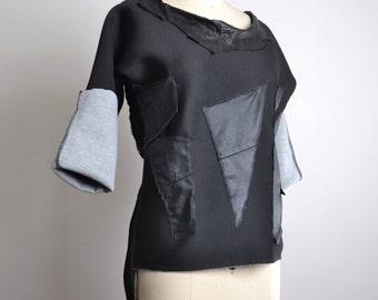 ON SALE Black Women Sweatshirt - OOAK Women's Sweatshirt - Leather Sweatshirt - Neoprene Black Sweatshirt - Steampunk