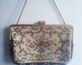 Antique 1930s flapper clutch purse with embroidery