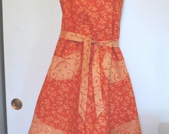 Orange Floral Print Full Apron