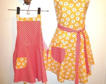 Yellow/Orange Floral Mother/daughter Apron Set