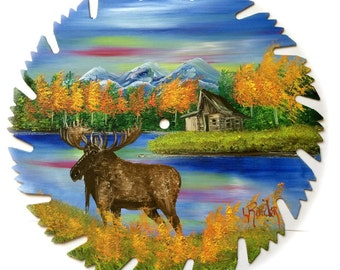 Hand Painted Saw Blade Mountain Fall Log Cabin and Moose